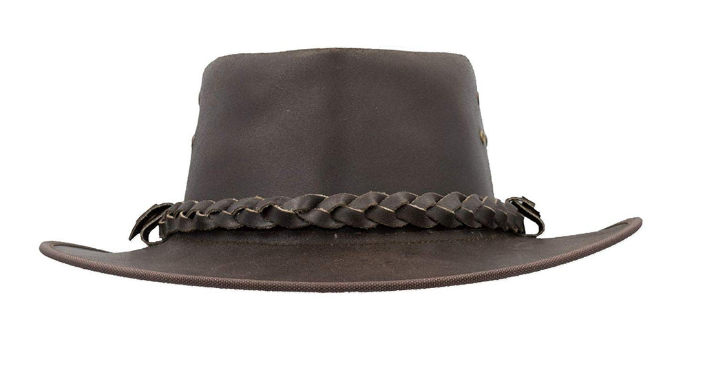 Walker & Hawkes Unisex Brown Leather Outback Braided Traveller Hat