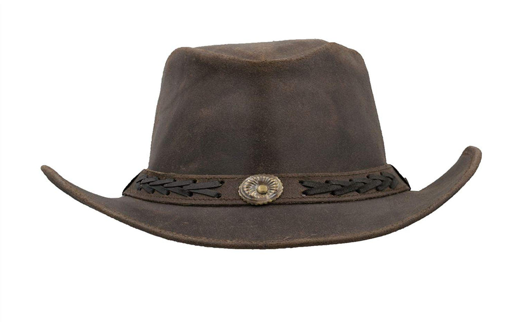Walker & Hawkes Unisex Brown Leather Cowhide Outback Antique Hat