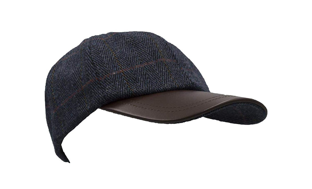 Walker & Hawkes Unisex Leather Peak Navy Blue Tweed Baseball Cap