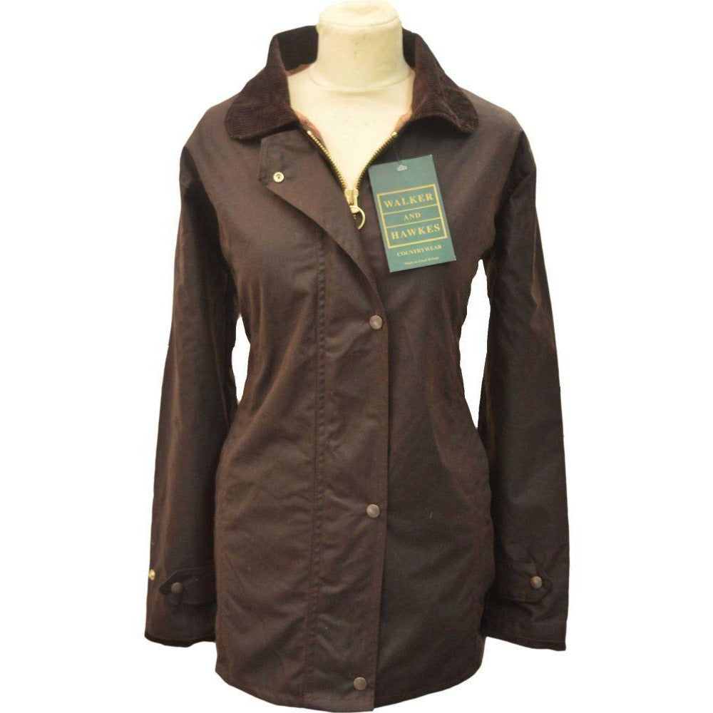 Walker & Hawkes Ladies' Brown Country Wax Waterproof Coat / Jacket-Equestrian Co.