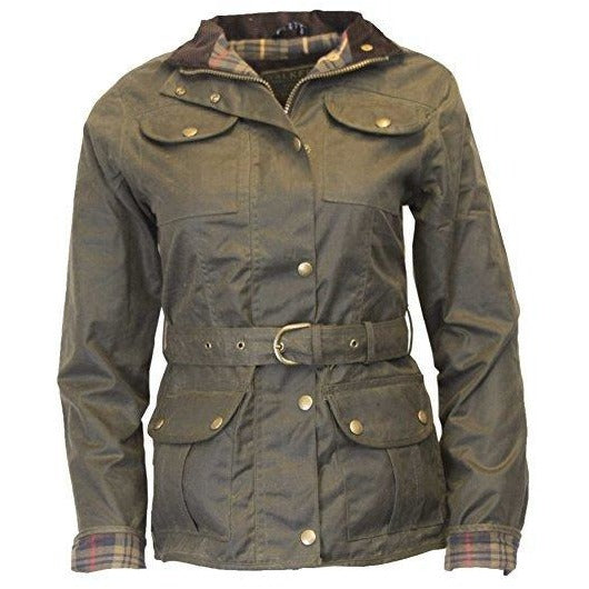 Walker & Hawkes Ladies' Olive Belted Wax Jacket