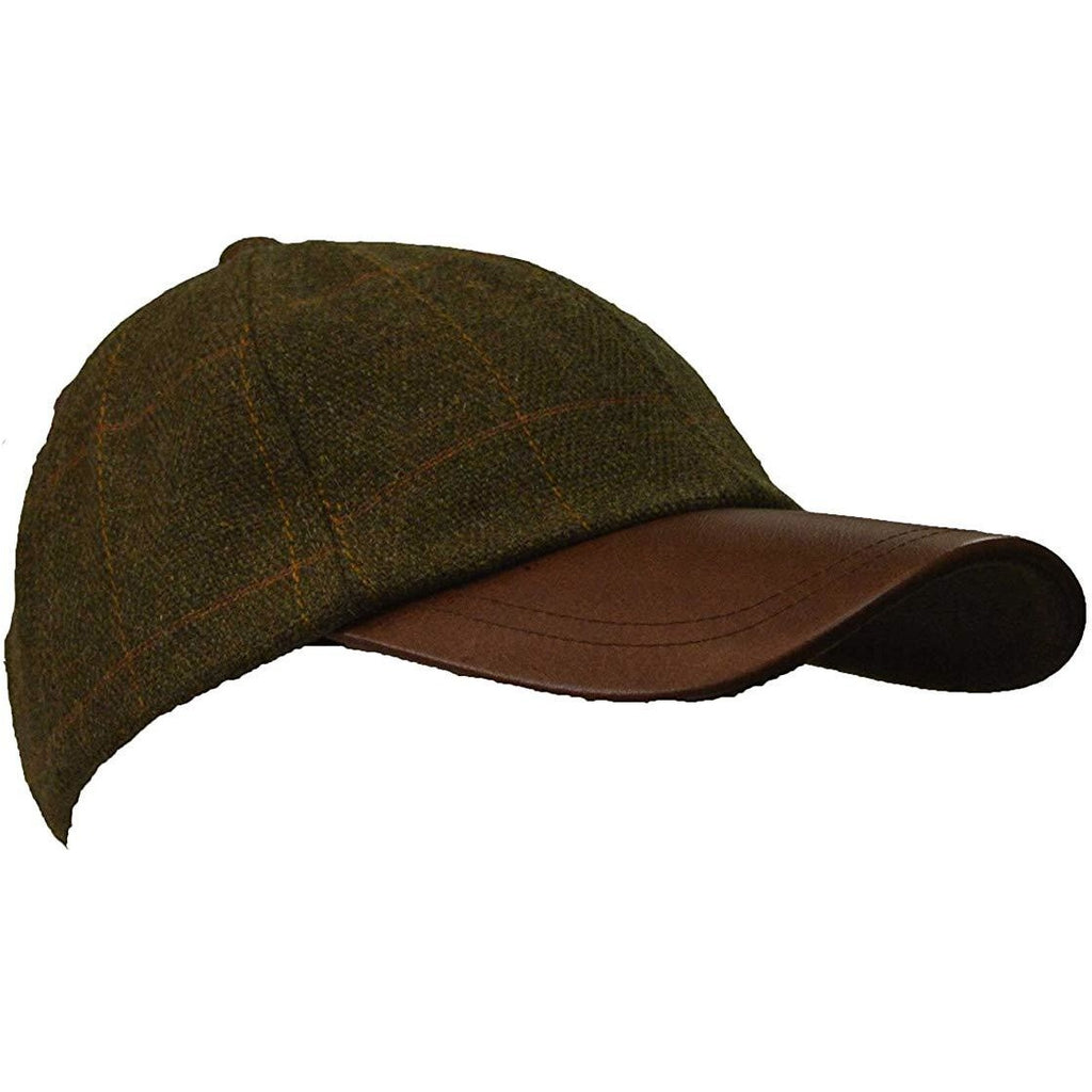 Walker & Hawkes Unisex Leather Peak Dark Sage Tweed Baseball Cap