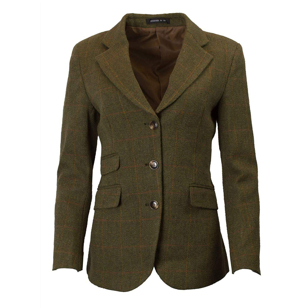 Walker & Hawkes Women's Mayland Dark Sage Tweed Blazer / Jacket