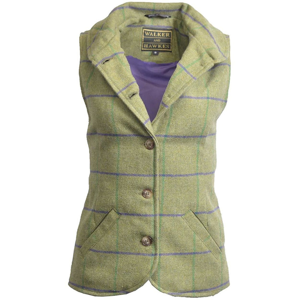 Walker & Hawkes Ladies' Purple Stripe Ashby Tweed Waistcoat / Gilet-Equestrian Co.