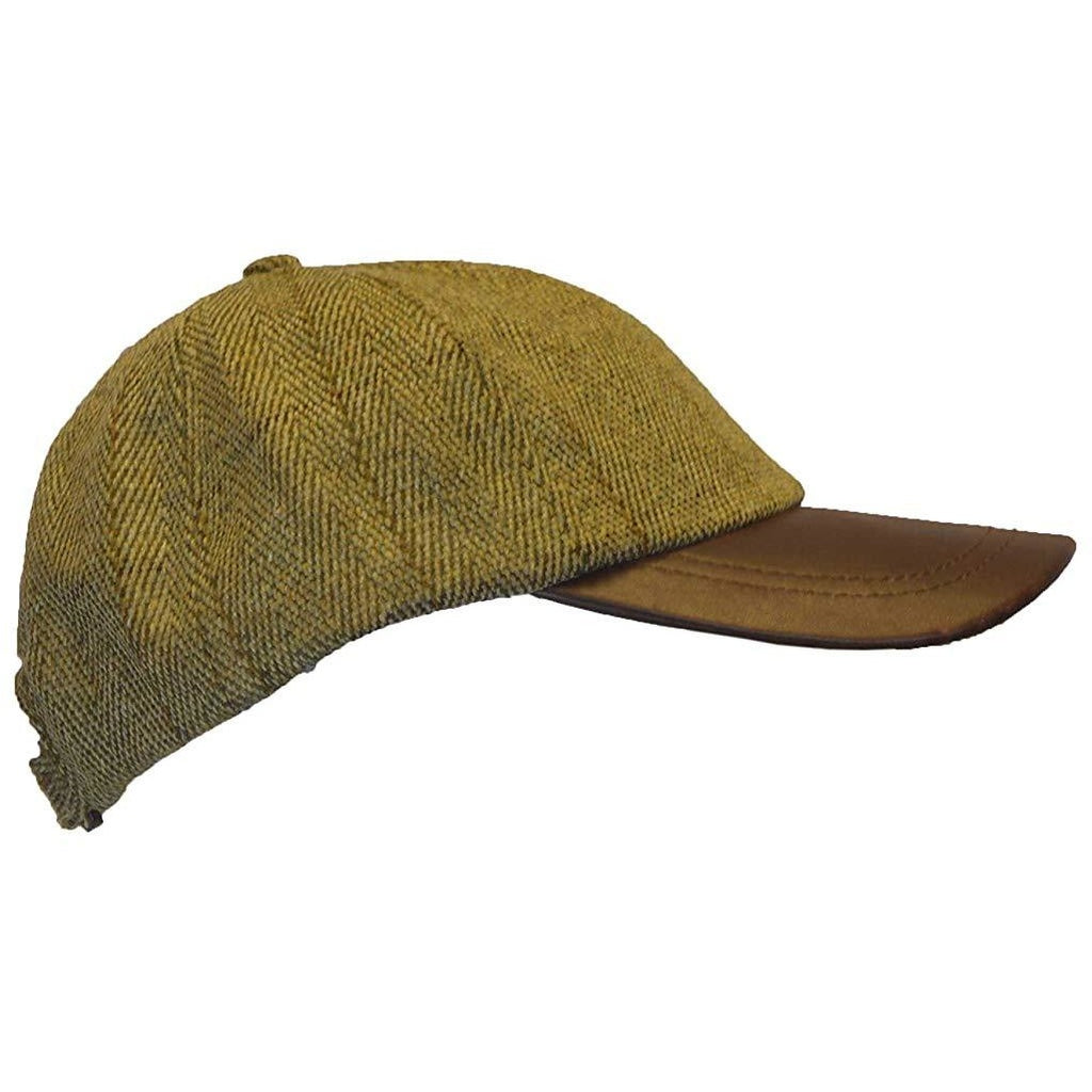 Walker & Hawkes Unisex Leather Peak Light Sage Tweed Baseball Cap-Equestrian Co.