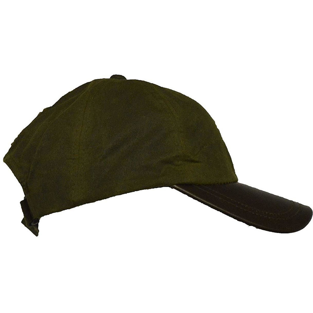 Walker & Hawkes Unisex Khaki Waxed Cotton Leather Peak Baseball Cap