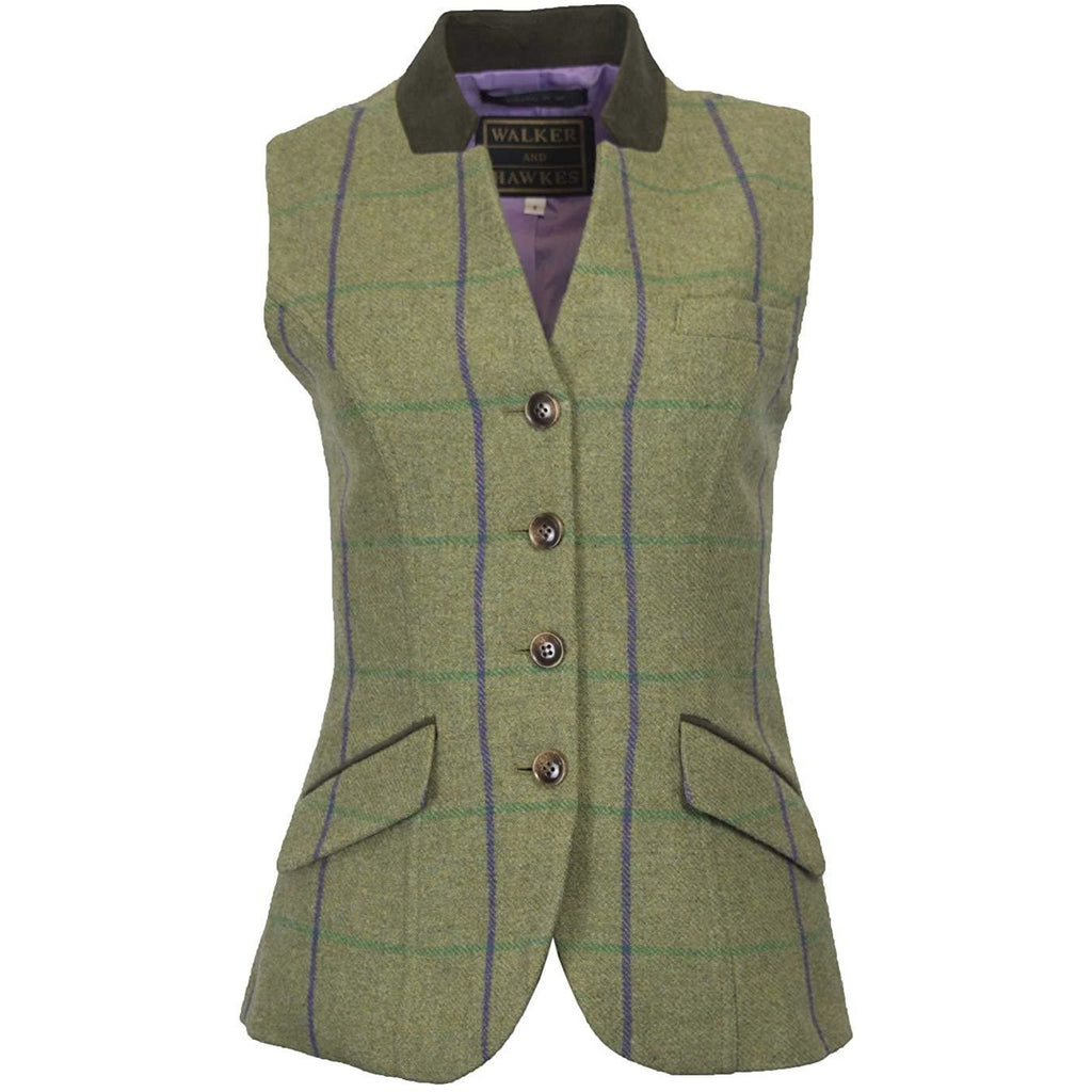 Walker & Hawkes Ladies' Purple Stripe Margate Tweed Gilet / Waistcoat
