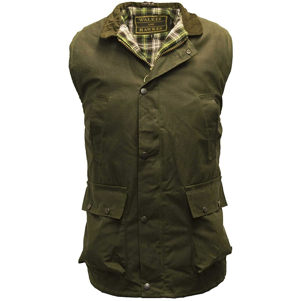 Walker & Hawkes Men's Country Olive Wax Waistcoat / Gilet-Equestrian Co.