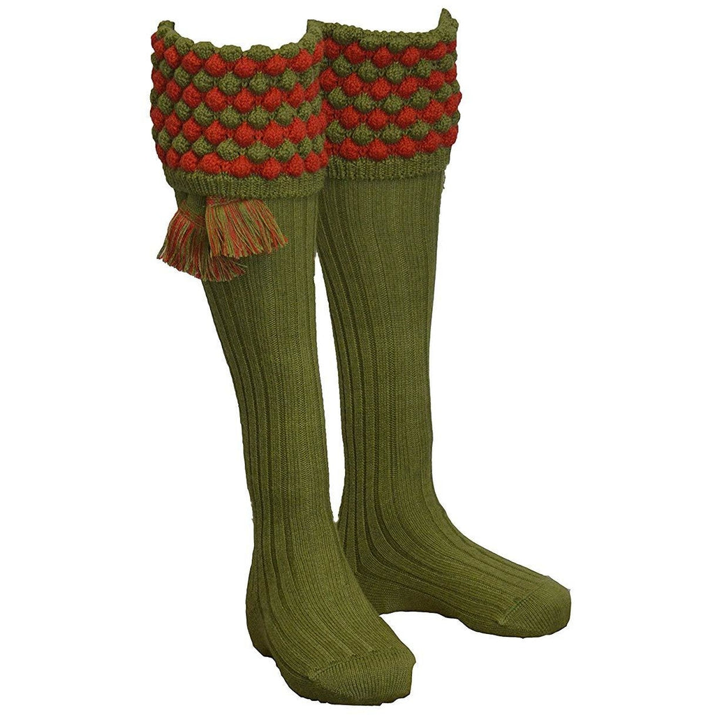 House of Cheviot Men's Moss & Military Red Angus Shooting Socks