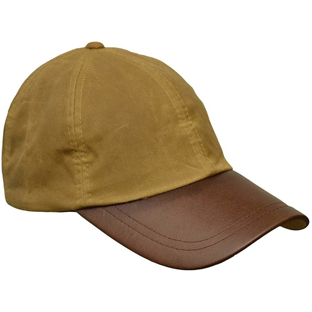 Walker & Hawkes Unisex Beige Waxed Cotton Leather Peak Baseball Cap-Equestrian Co.