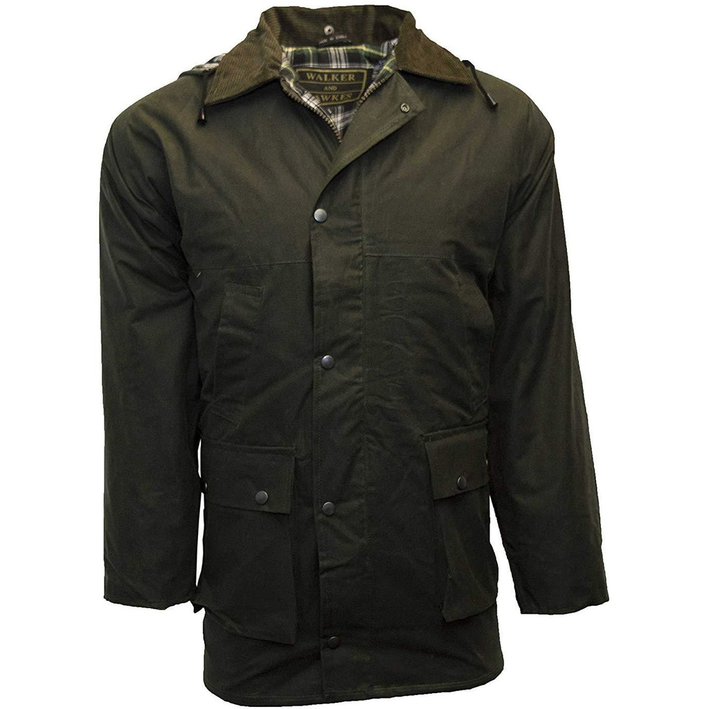 Walker & Hawkes Men's Olive Waxed Cotton Country Jacket / Coat