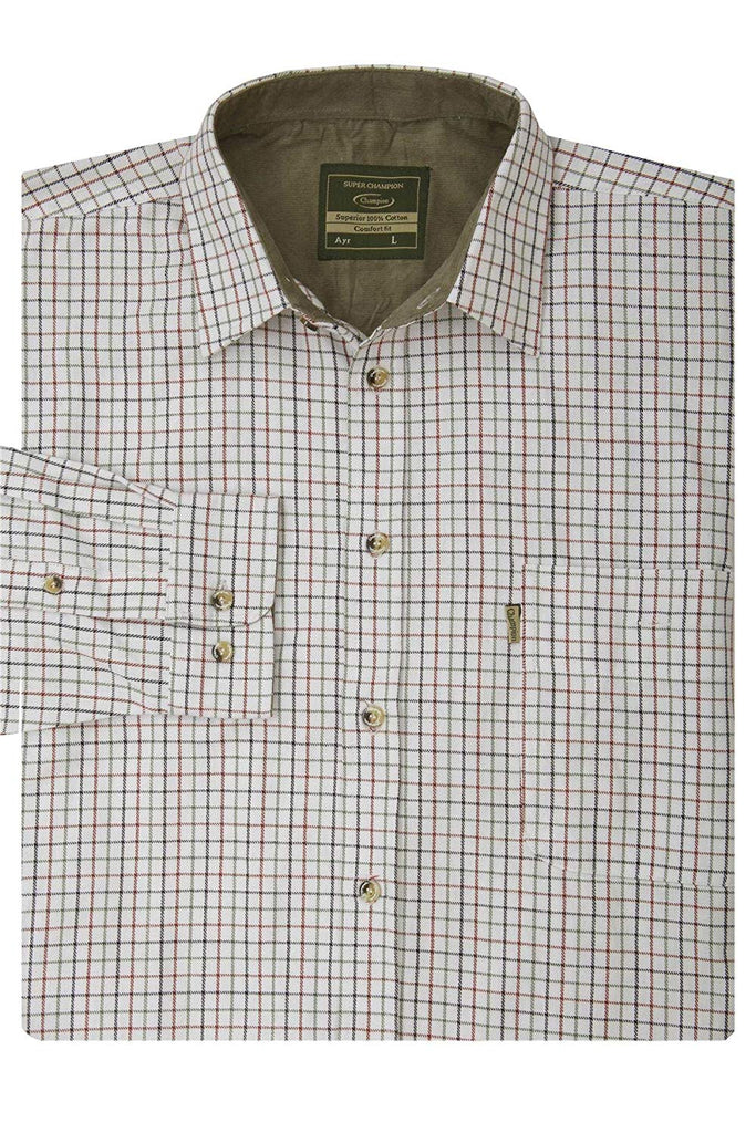 Champion Men's Long Sleeved Cotton Blue Check Shirt