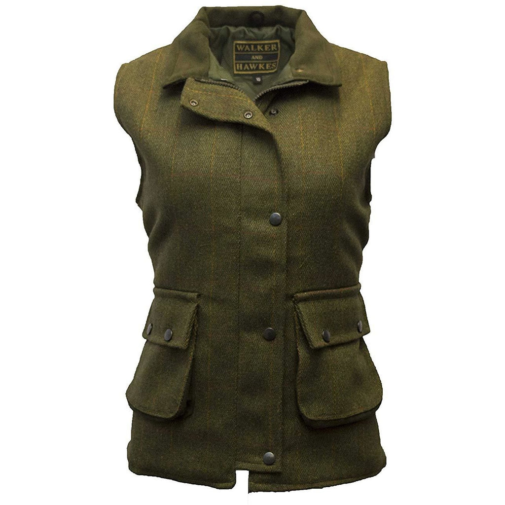Walker & Hawkes Ladies' Dark Sage Derby Tweed Waistcoat / Gilet-Equestrian Co.