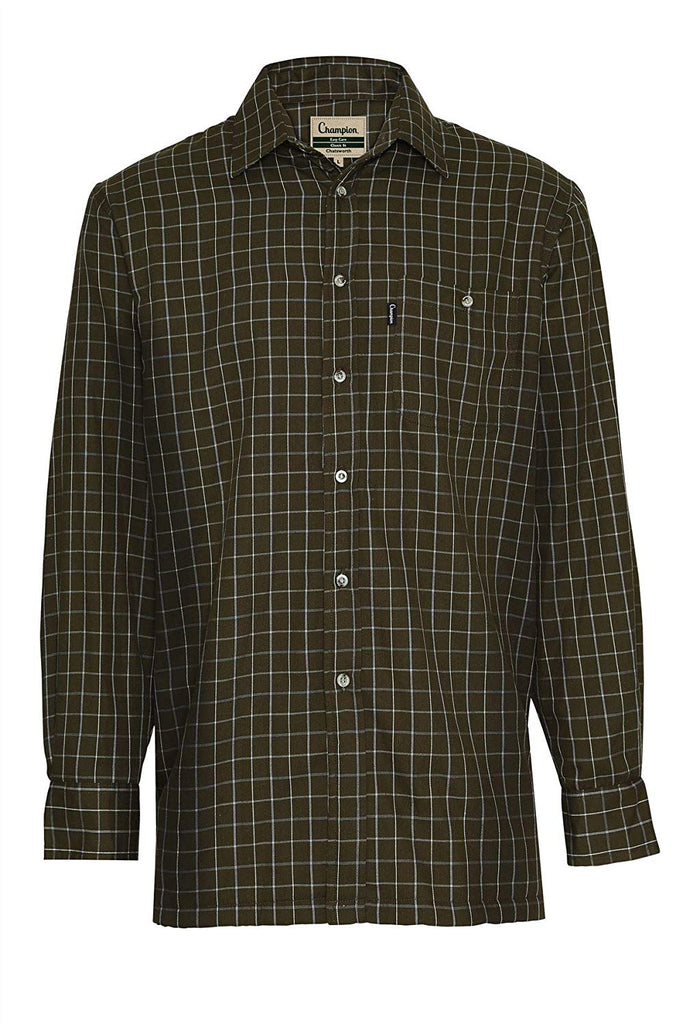Champion Men's Olive Easy Care Country Check Shirt