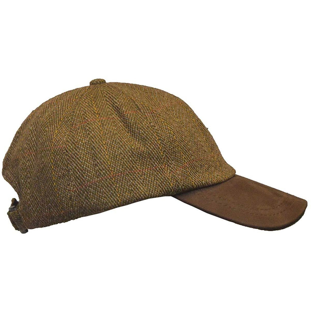 Walker & Hawkes Unisex Leather Peak Brown Tweed Baseball Cap-Equestrian Co.