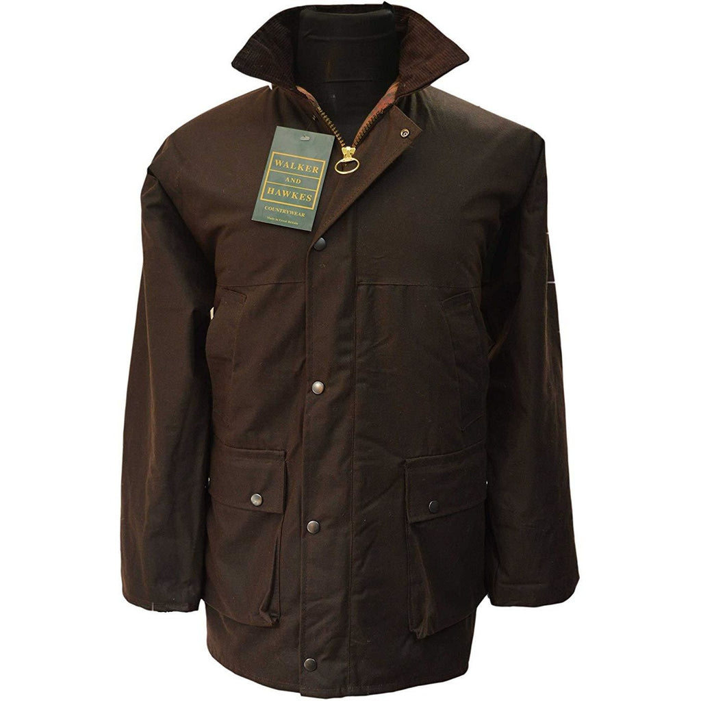 Walker & Hawkes Men's Brown Waxed Cotton Country Jacket / Coat