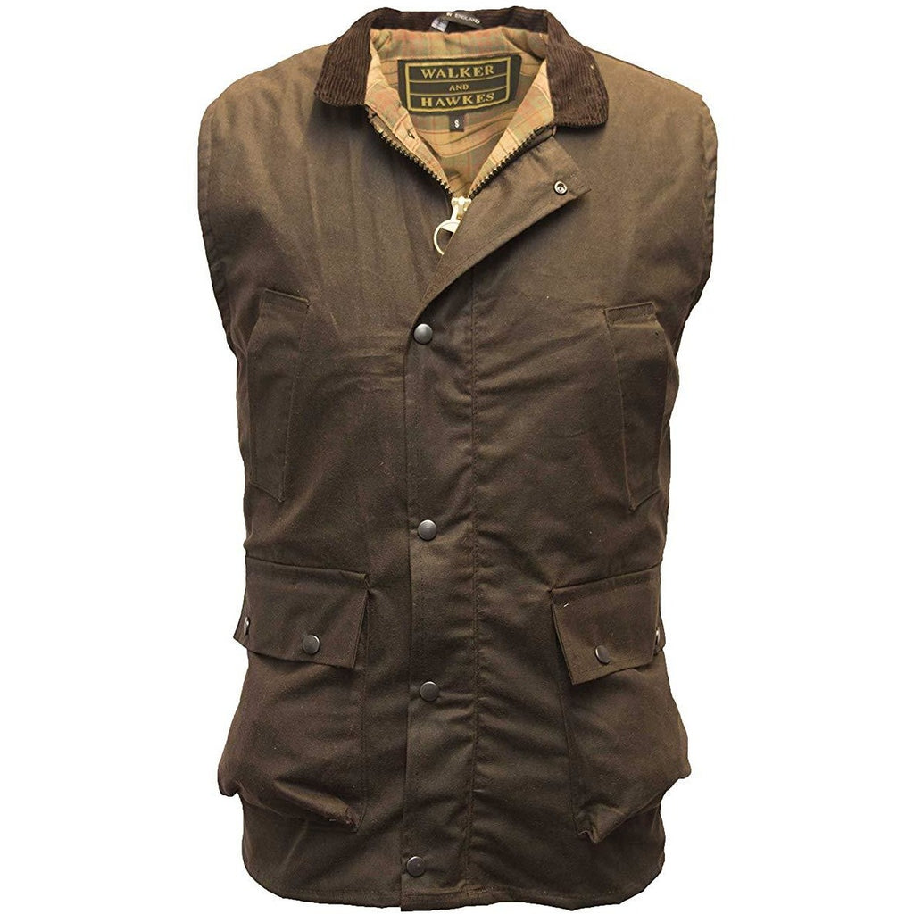 Walker & Hawkes Men's Country Brown Wax Waistcoat / Gilet-Equestrian Co.