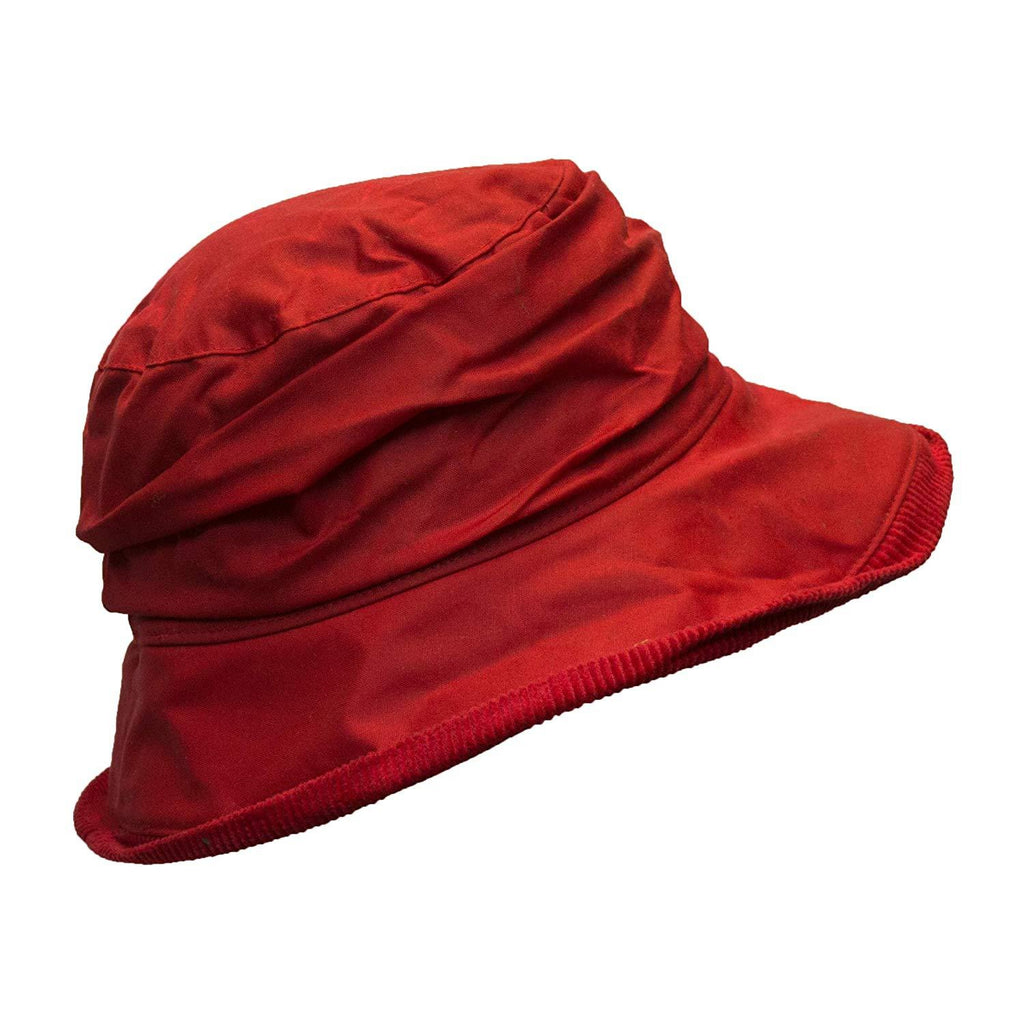 Walker & Hawkes Ladies' Red Diana Wax Waterproof Hat