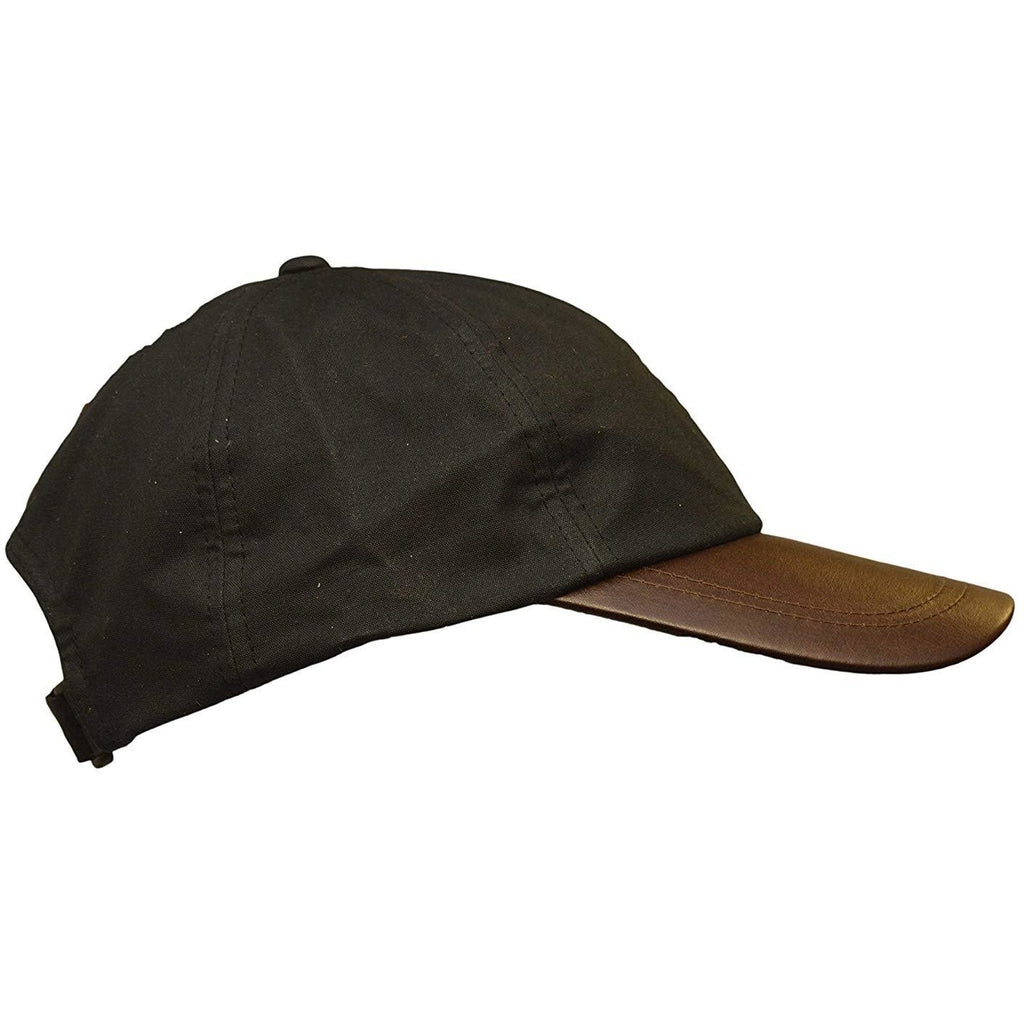 Walker & Hawkes Unisex Black Waxed Cotton Leather Peak Baseball Cap
