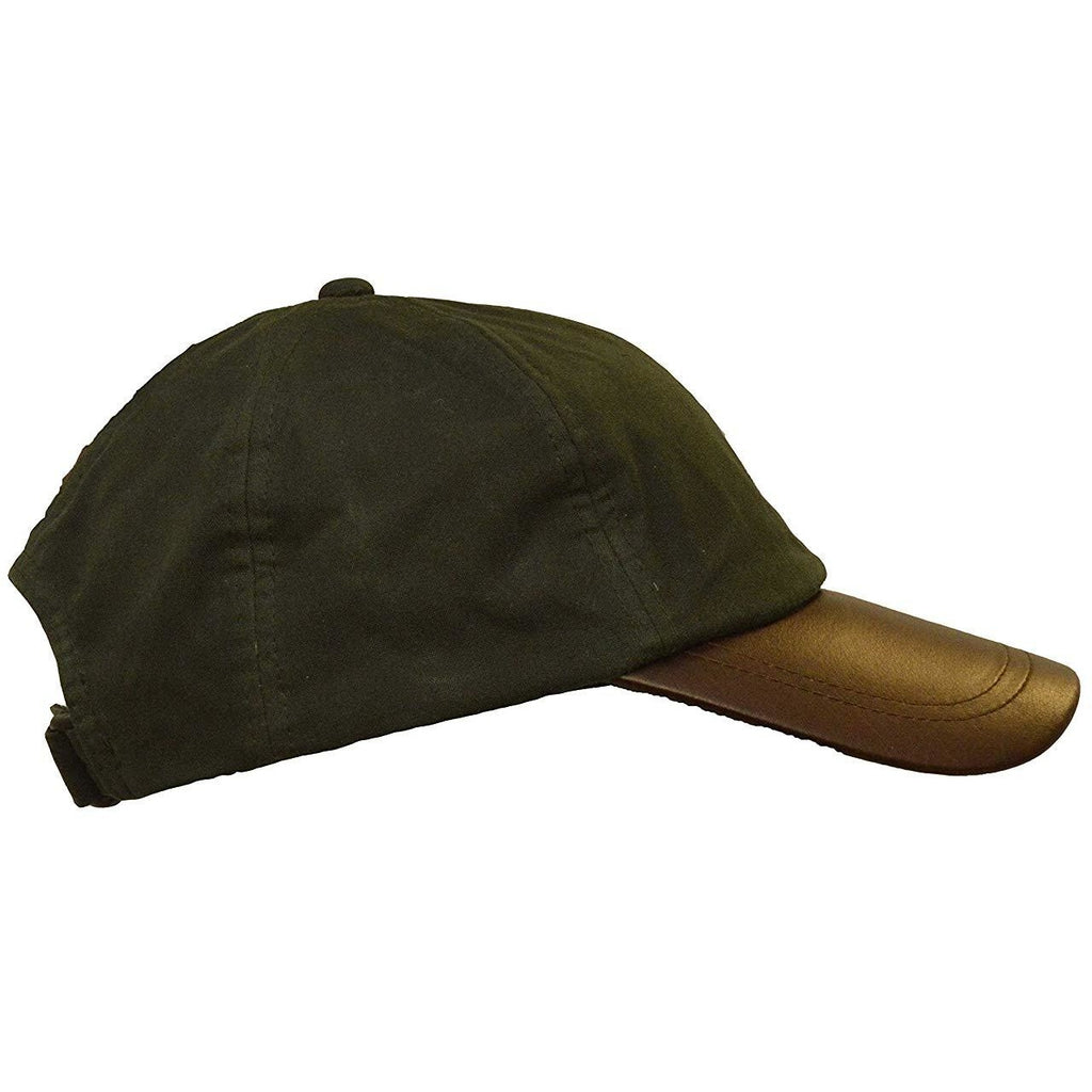 Walker & Hawkes Unisex Olive Waxed Cotton Leather Peak Baseball Cap-Equestrian Co.