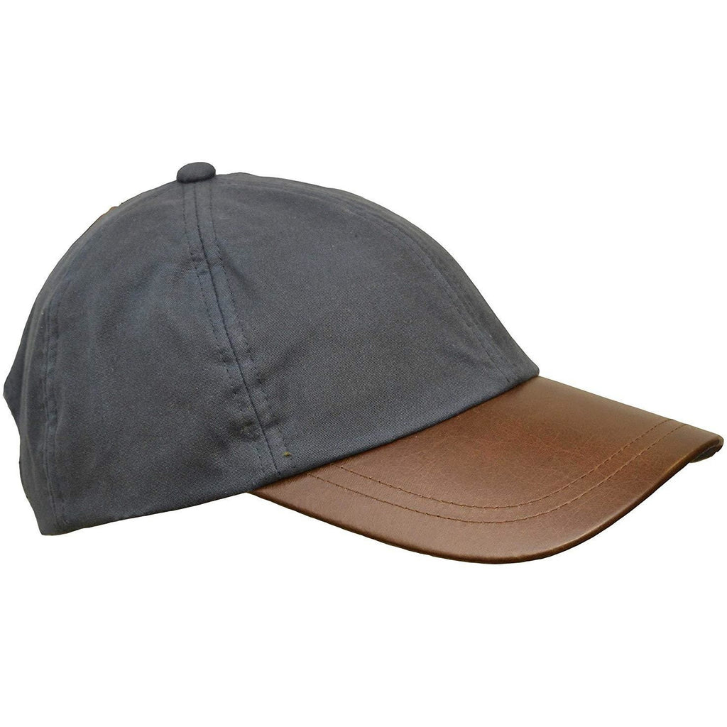 Walker & Hawkes Unisex Navy Waxed Cotton Leather Peak Baseball Cap-Equestrian Co.