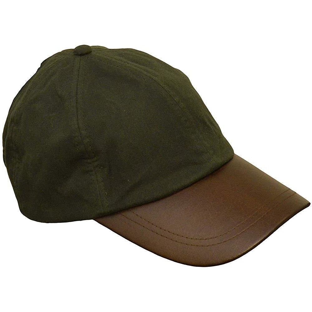 Walker & Hawkes Unisex Olive Waxed Cotton Leather Peak Baseball Cap
