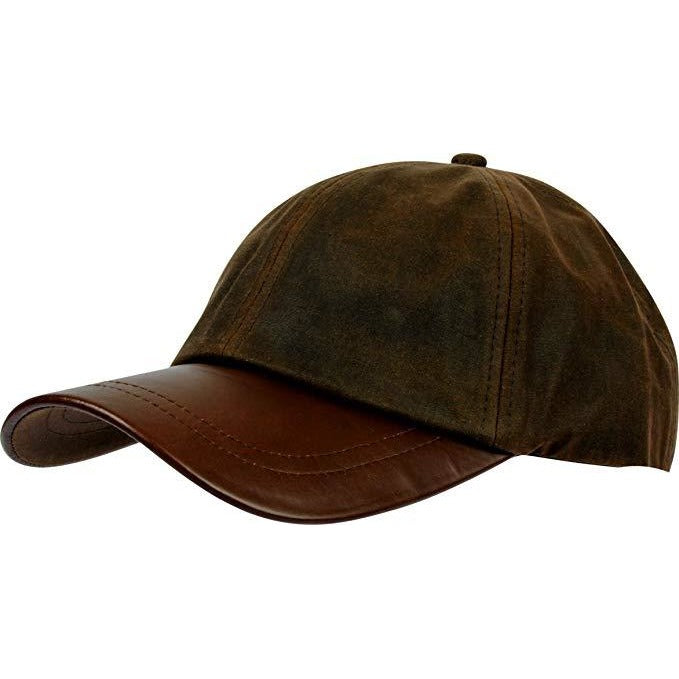 Walker & Hawkes Unisex Brown Waxed Cotton Leather Peak Baseball Cap