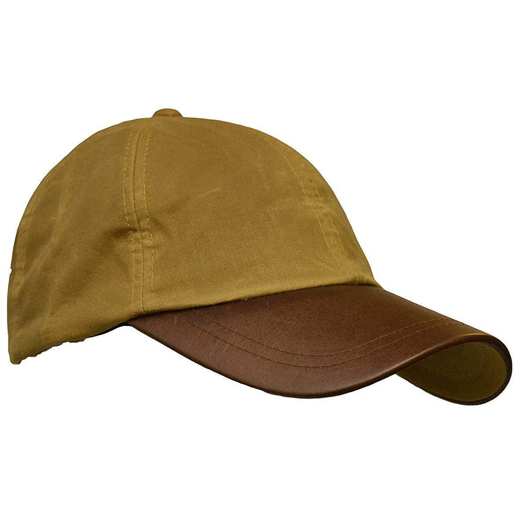 Walker & Hawkes Unisex Beige Waxed Cotton Leather Peak Baseball Cap