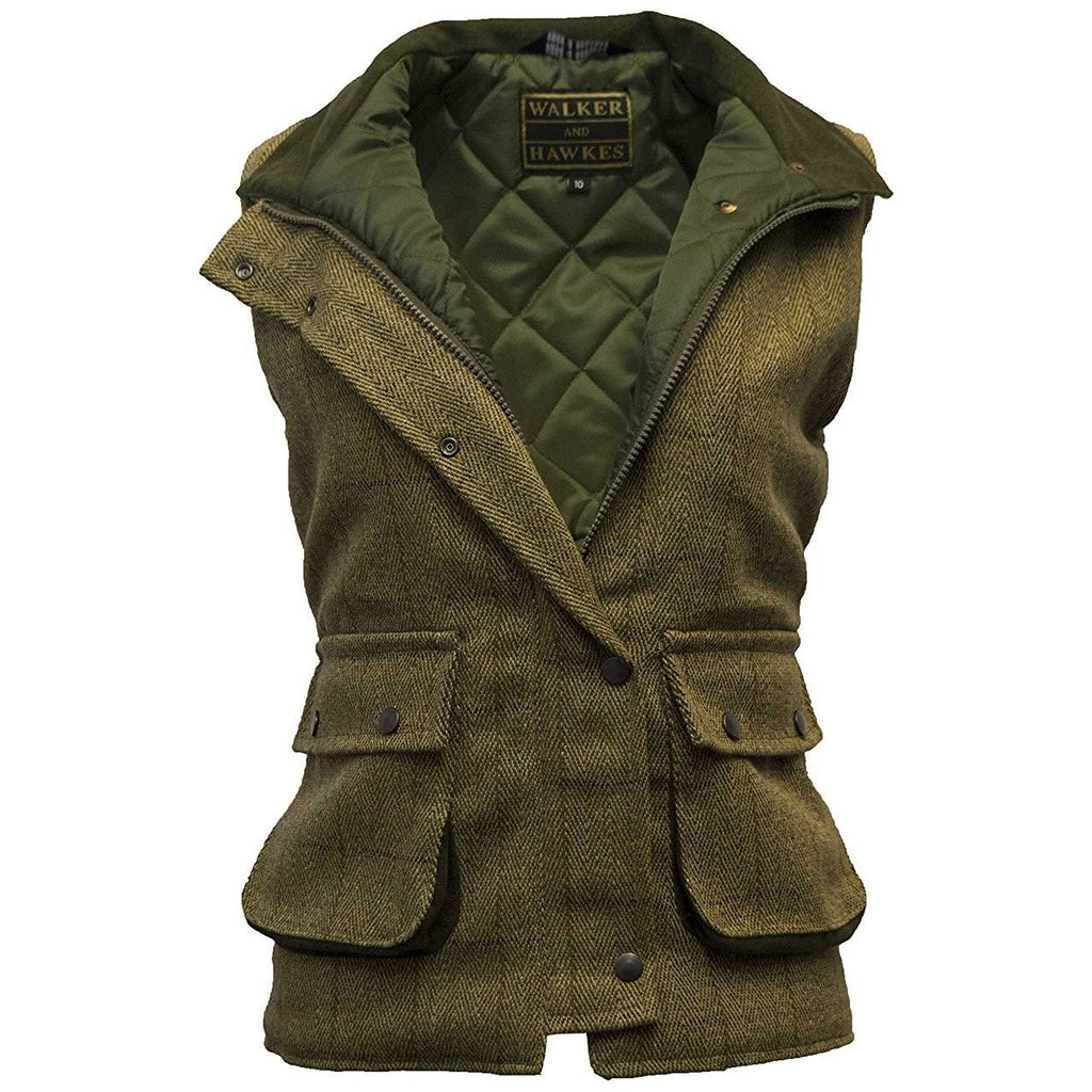Walker & Hawkes Ladies' Light Sage Derby Tweed Waistcoat / Gilet-Equestrian Co.