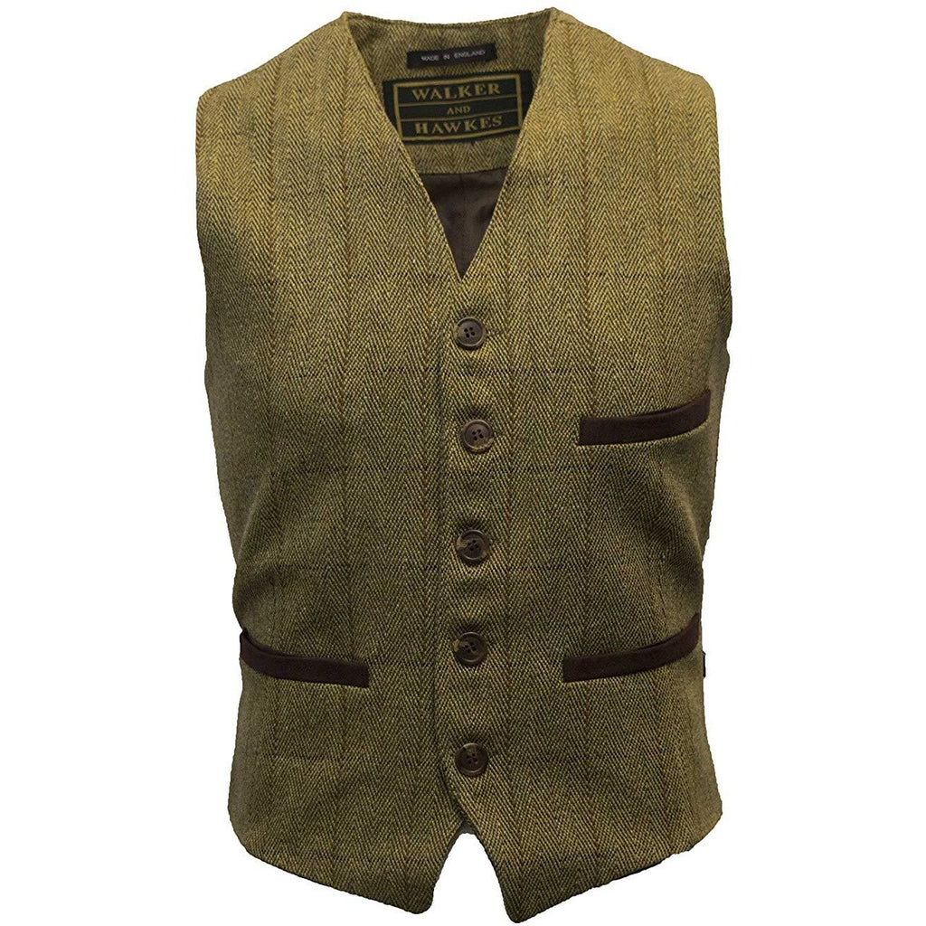 Walker & Hawkes Men's Light Sage Formal Dress Tweed Waistcoat / Gilet