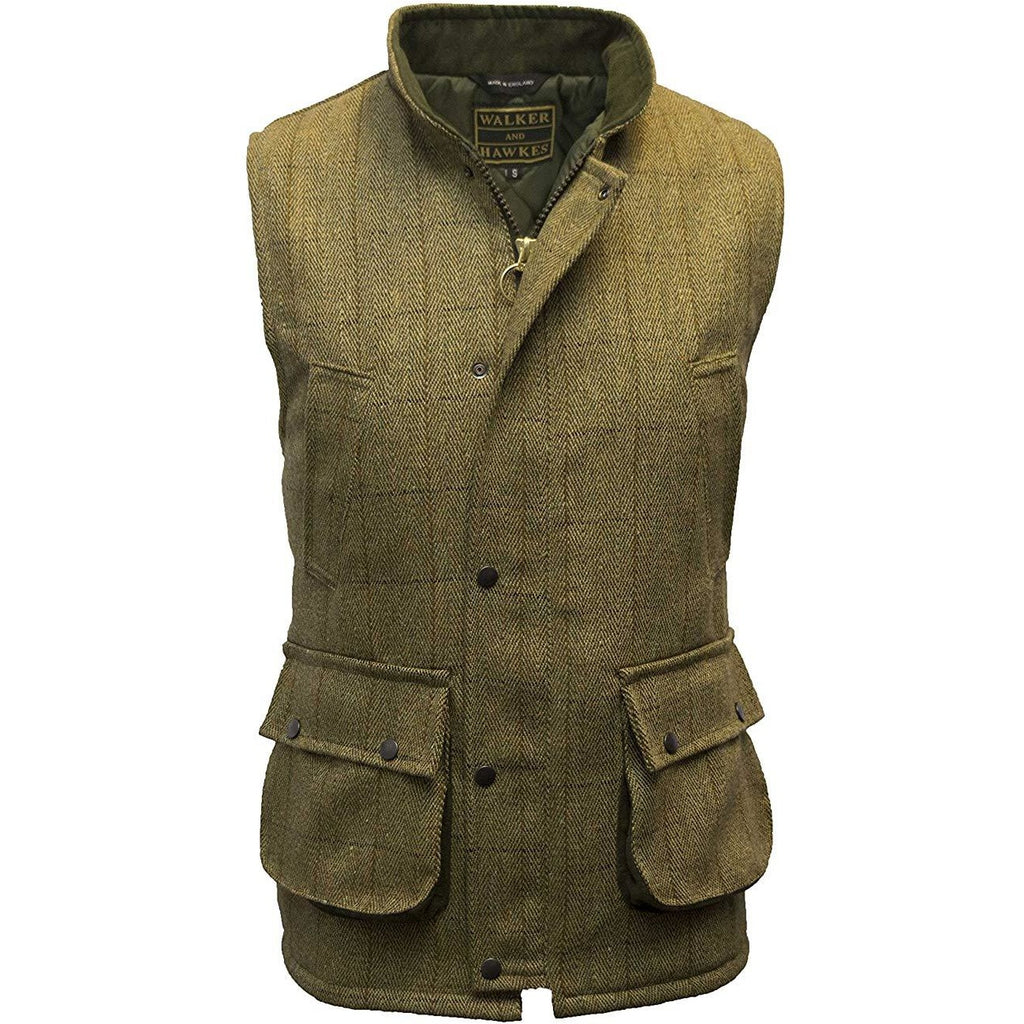 Walker & Hawkes Men's Light Sage Tweed Shooting Gilet / Waistcoat