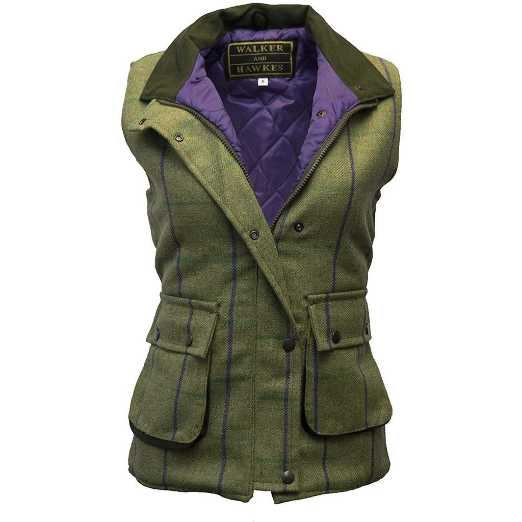 Walker & Hawkes Ladies' Purple Stripe Derby Tweed Waistcoat / Gilet-Equestrian Co.