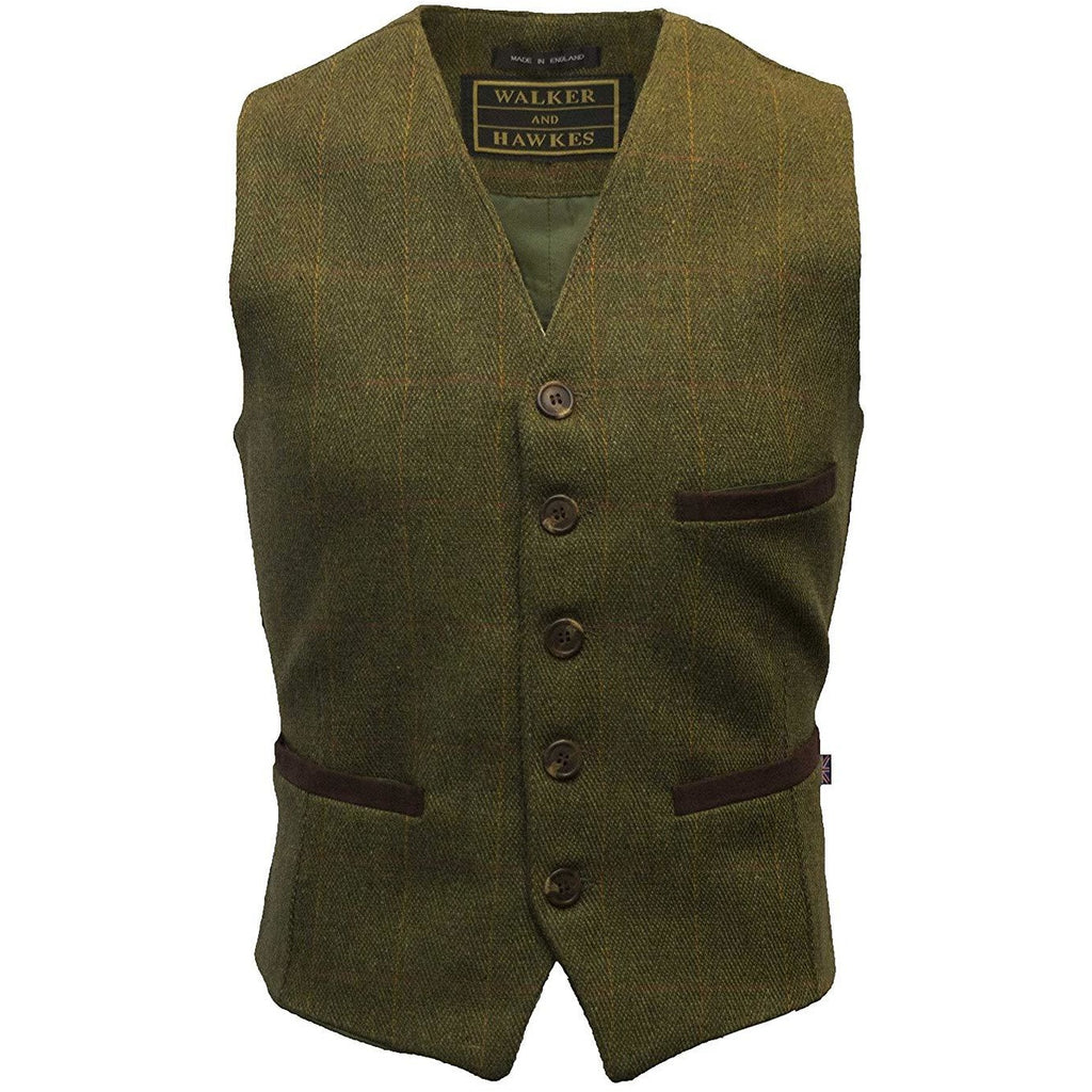 Walker & Hawkes Men's Dark Sage Formal Dress Tweed Waistcoat / Gilet