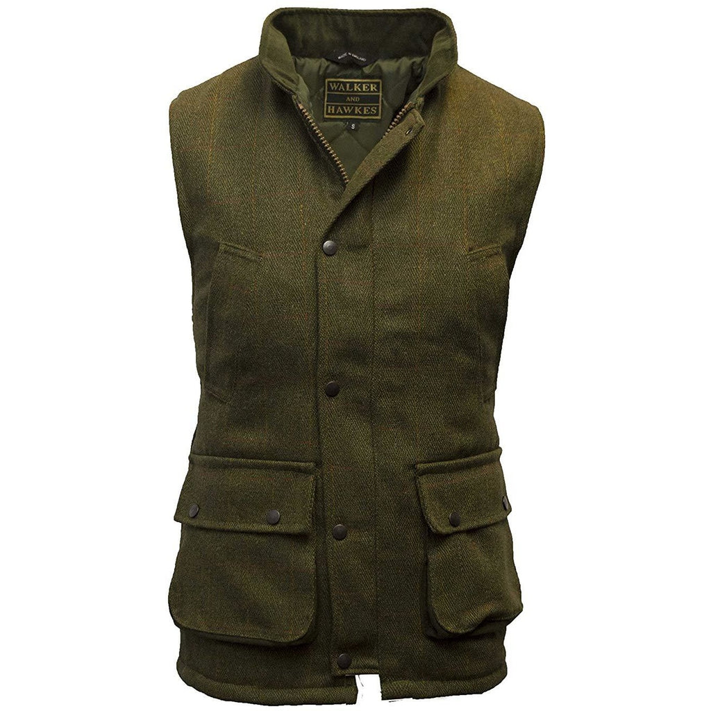 Walker & Hawkes Men's Dark Sage Tweed Shooting Gilet / Waistcoat-Equestrian Co.