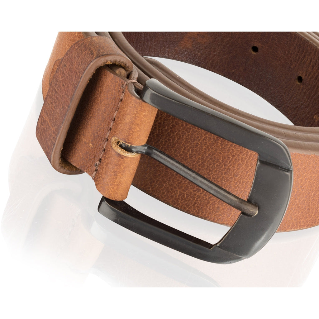 Woodland Leather Men's Thick Tan / Burgundy Leather Belt-Equestrian Co.