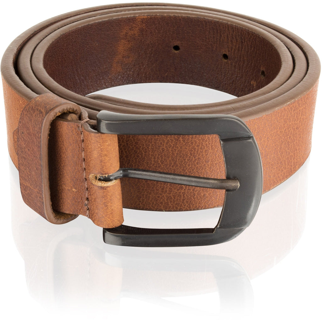 Woodland Leathers Men's Thick Tan / Burgundy Leather Belt