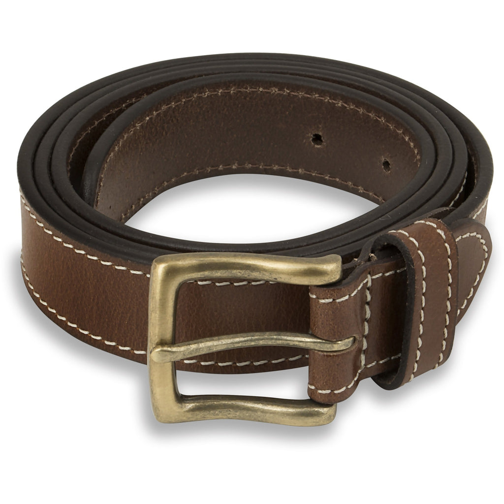 Woodland Leathers Men's Leather Tan Belt - Contrast Stitching
