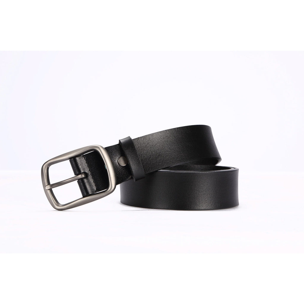 Hautton Men's Luxurious Black Leather Belt - Silver Tone Buckle-Equestrian Co.
