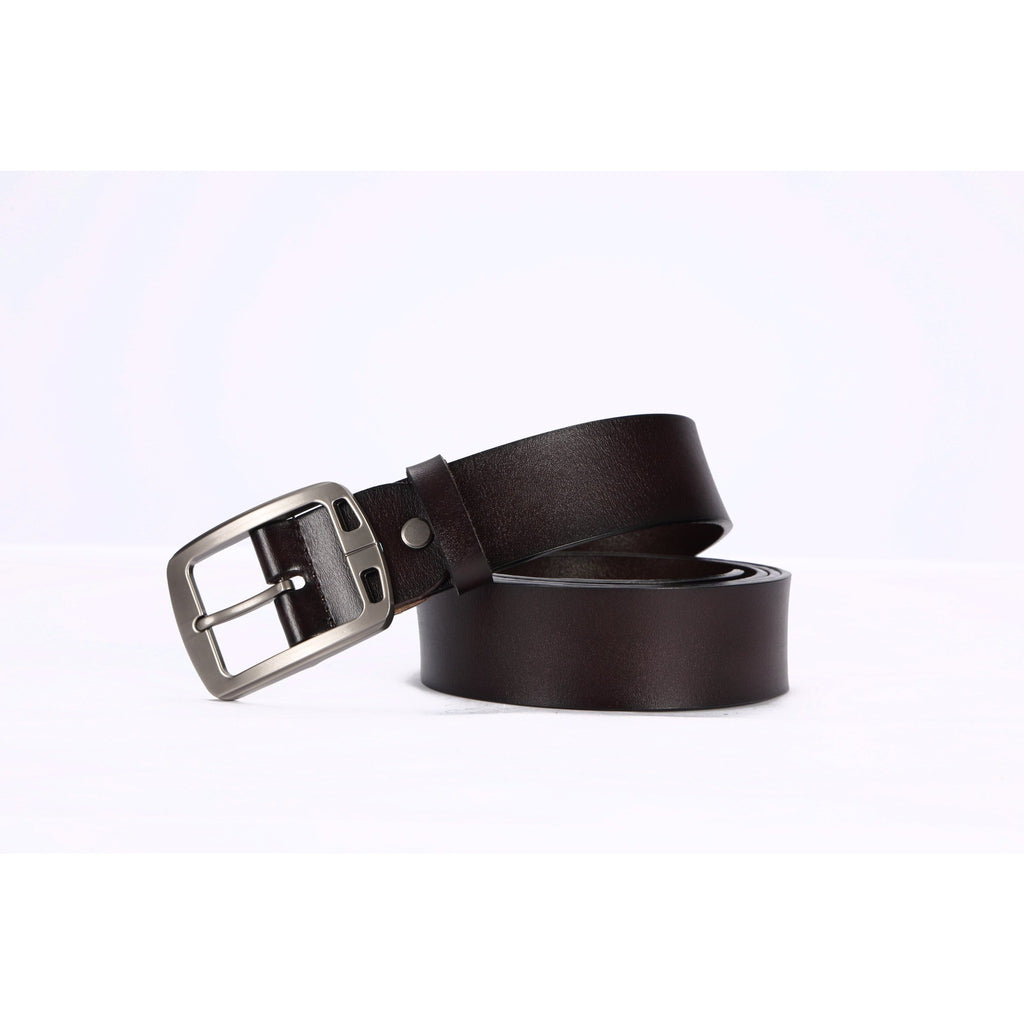 Hautton Men's Custom Fitted Black / Brown Leather Belt