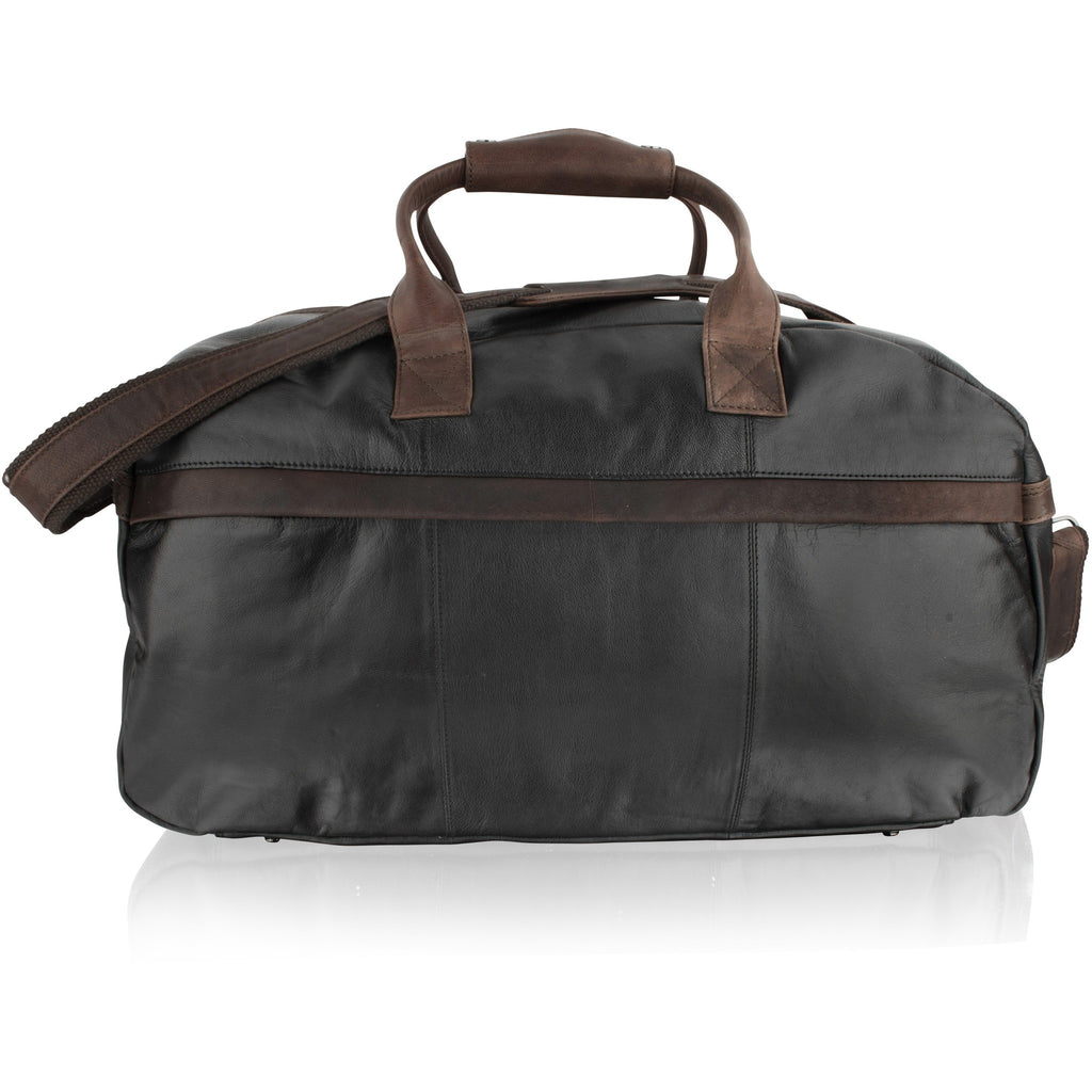 Woodland Leathers Lightweight Leather Holdall - Dark Brown Contrast
