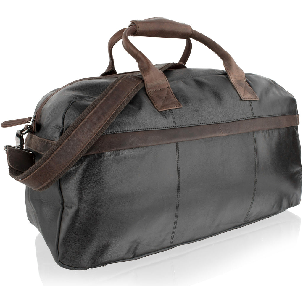 Woodland Leather Lightweight Leather Holdall - Dark Brown Contrast