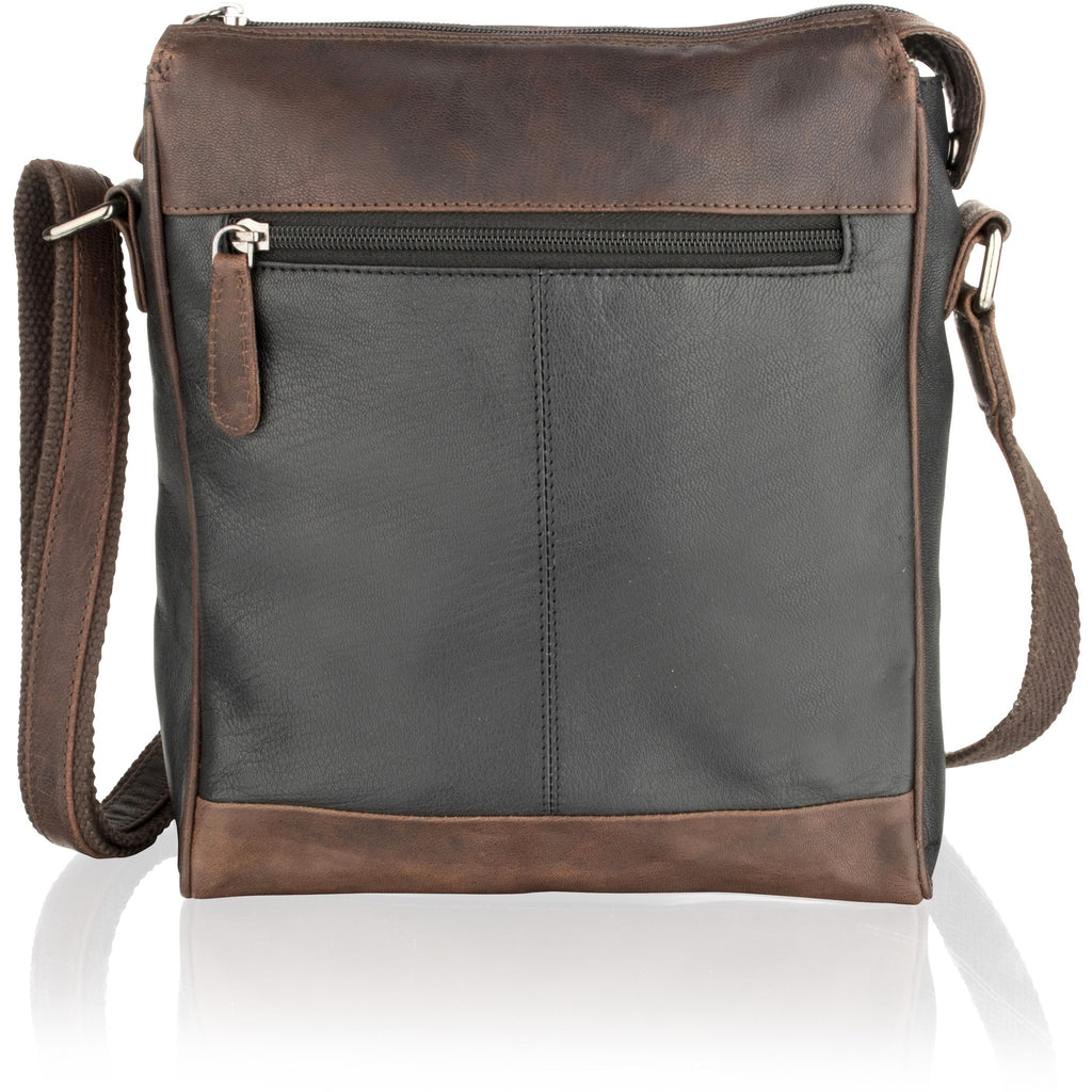 Woodland Leather Unisex Brown Contrast Leather Messenger Bag-Equestrian Co.