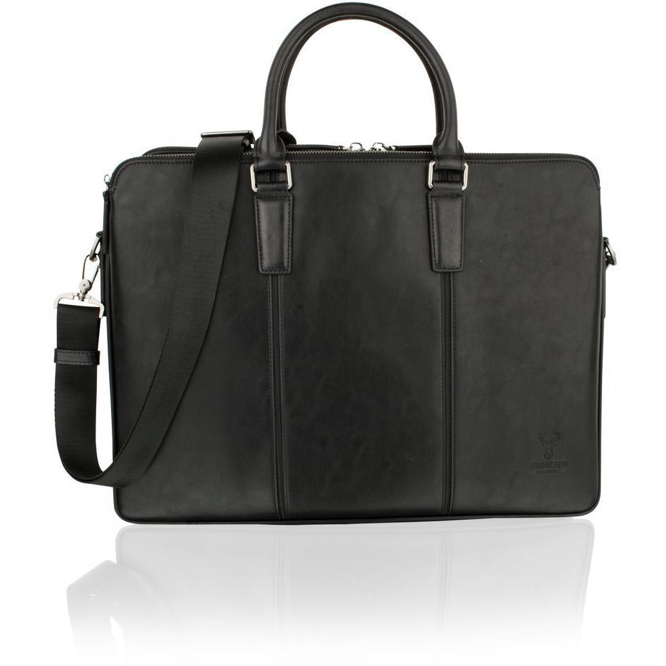 "Woodland Leather Classic Black 15.0"" Tote Bag"