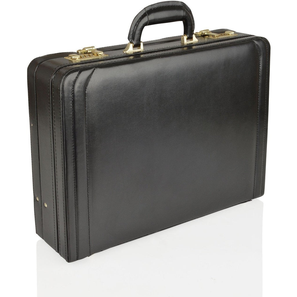 Woodland Leather Genuine Bonded Leather Expanding Attache Case - Equestrian Co. - 1