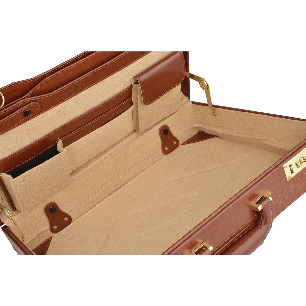 Woodland Leather Genuine Bonded Leather Expanding Attache Case-Equestrian Co.