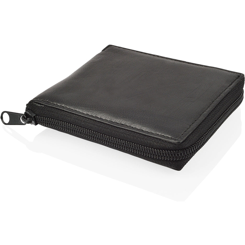 Woodland Leather's Men's Zipped / Full Zip Black Leather Wallet