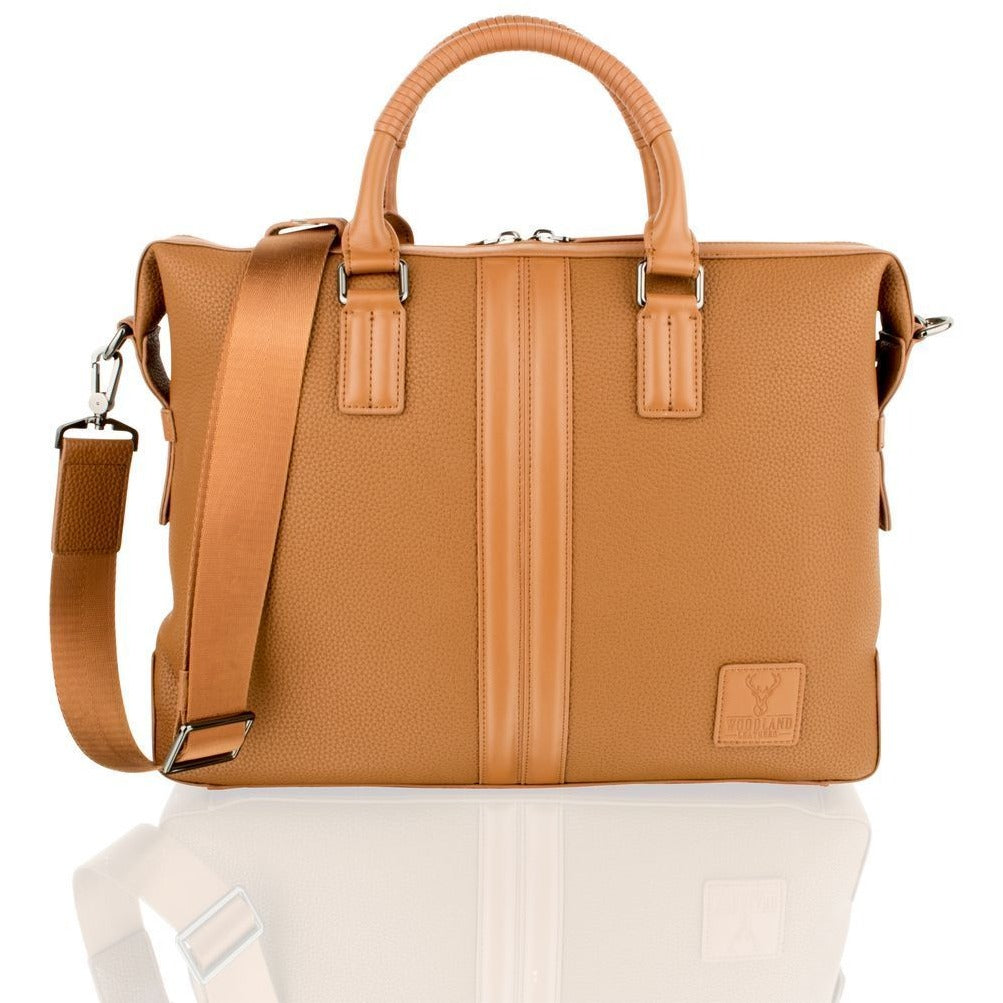 "Woodland Leather Tan Tote Bag 14.0"" with Central Compartment"
