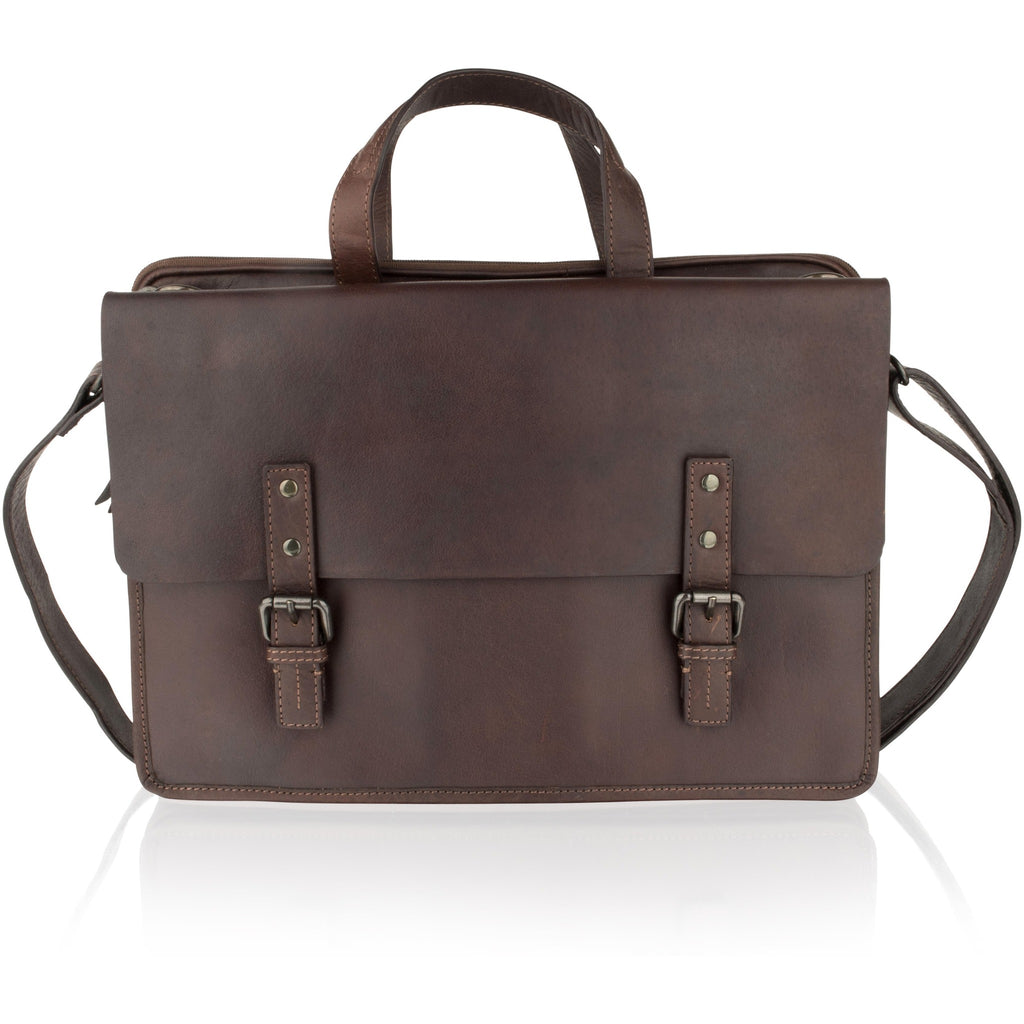 Woodland Leathers Unisex Classic Leather Briefcase / Messenger Bag