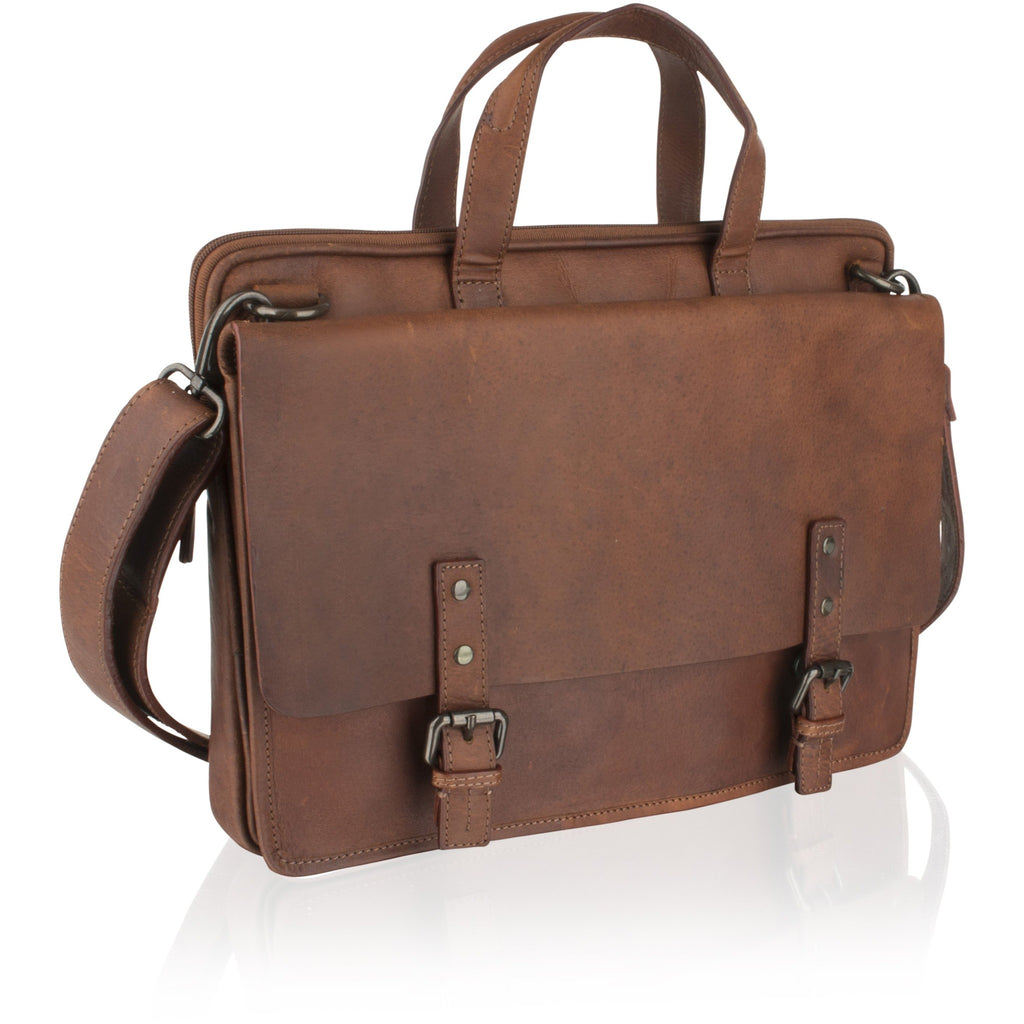 Woodland Leather Unisex Classic Leather Briefcase / Messenger Bag-Equestrian Co.
