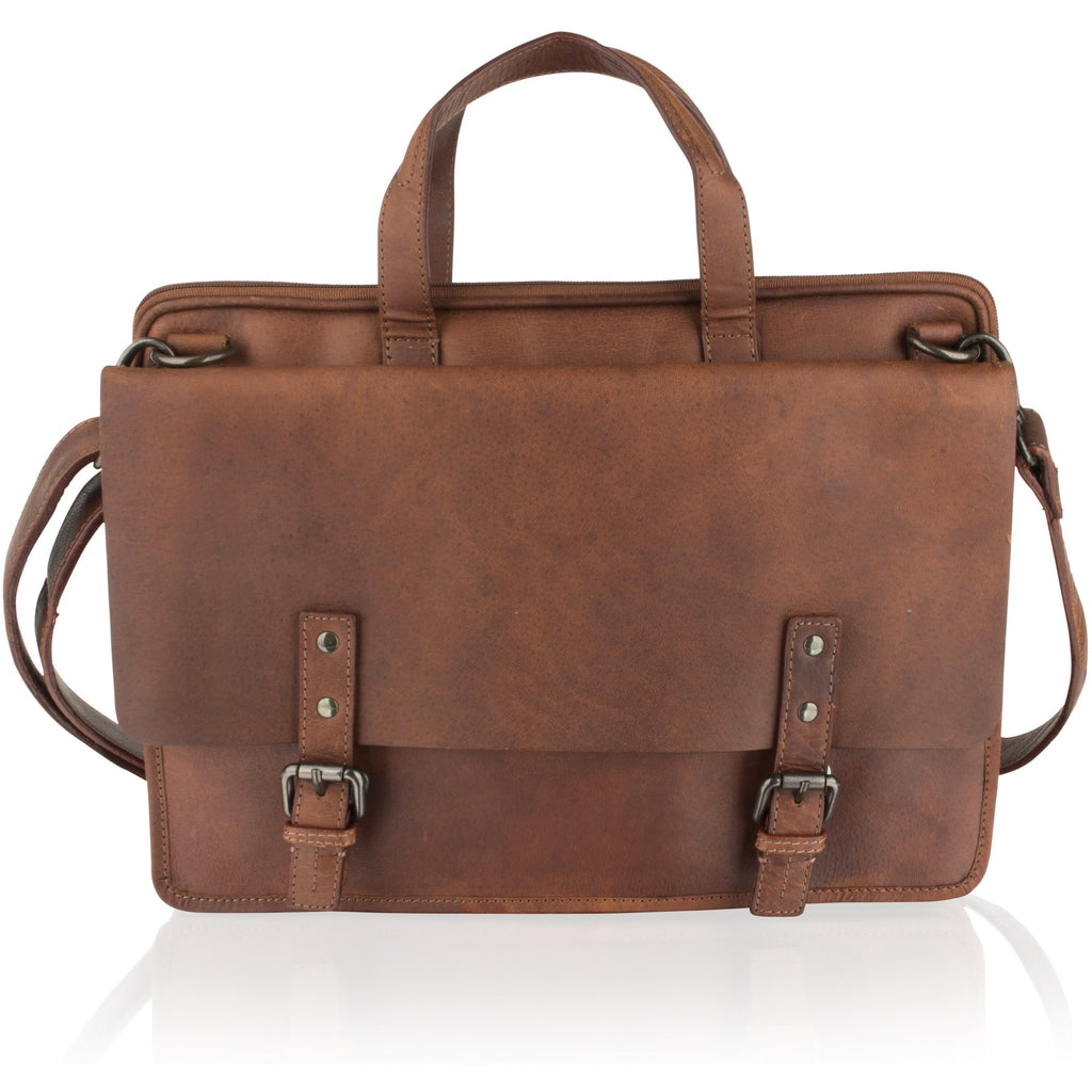 Woodland Leather Unisex Classic Leather Briefcase / Messenger Bag